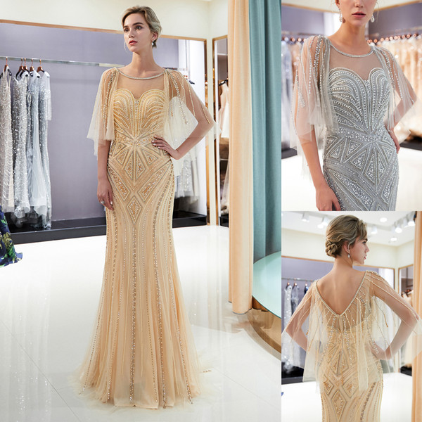 Luxury Beaded Pearls Gold/Gray Mermaid Prom Dresses with Wrap Crystal Scoop Sheer Neck Wedding Bridal Gown Formal Occasion Wear CPS1175