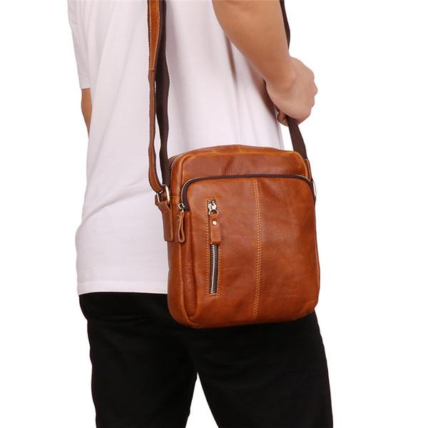 Nesitu alta calidad café marrón cuero genuino cuerpo cruzado pequeños hombres bolsas de mensajero para mini ipad hombre bolsas de hombro m6421