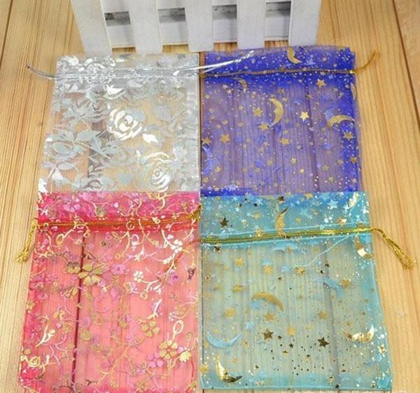 2018 горячие продажи органзы ювелирные изделия подарок сумка сумки с Drawstring Mix цвета печатных Сатин пакет для конфеты ожерелье серьги