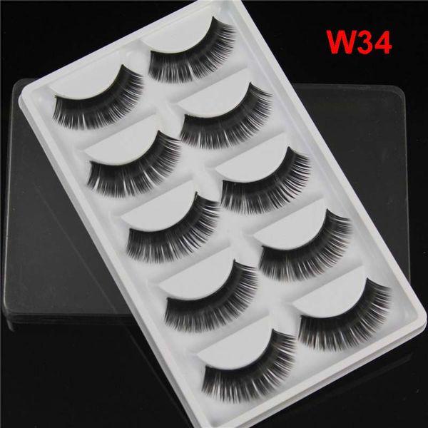 5 Pairs Pack False Eyelashes Synthetic Fiber Hair Handmade Black Extension Thick Natural Long Fake Lashes DHL Free