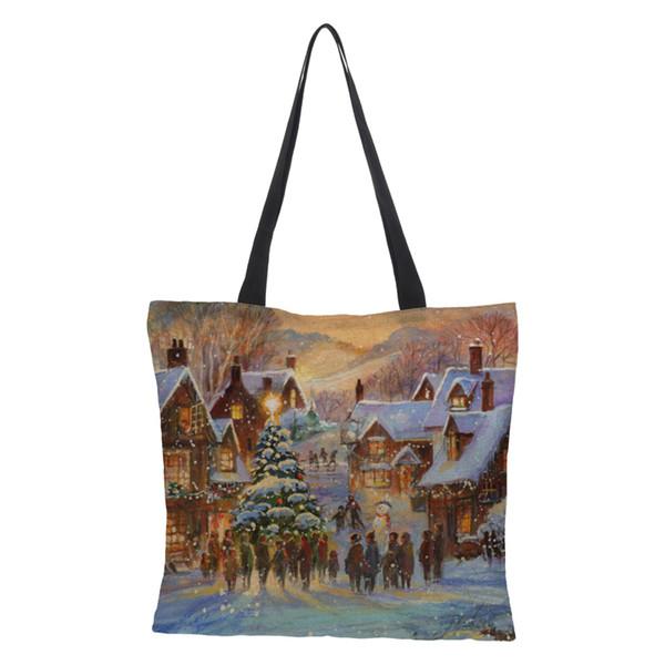 CROWDALE Merry Christmas Women bag Christmas gift bag Large Linen printing Shopping bags for Women Shoulder 43cm*43cm