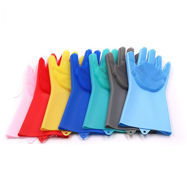 8 Colors Food Grade Silicone Dish Scrubber Silicone Gloves Brush Multi-purpose Gloves Thick Durable Cleaning Tools Kitchen