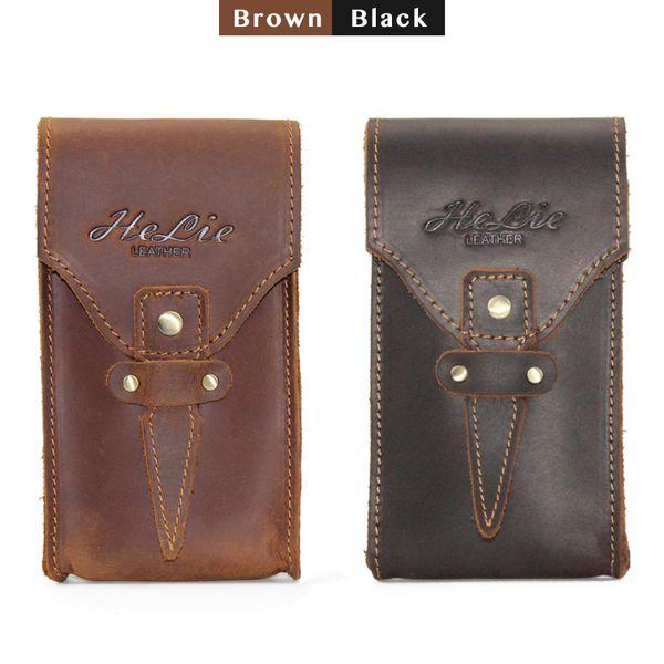 Hakiki üst katman yağ deri erkek bel çantası el yapımı spor eğlence retro fanny paketi kahverengi ve koyu siyah