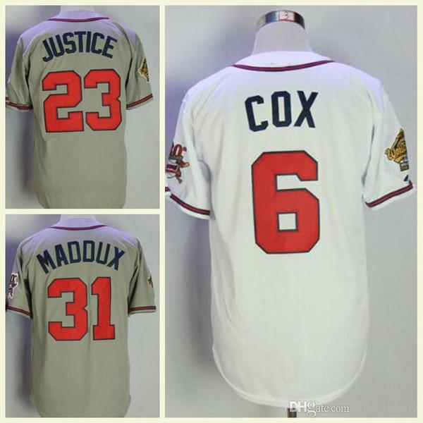 1998 Dünya Serisi Atlanta Jersey Parçalayıcı Jones Bobby Cox David Adalet John Smoltz Greg Tom Glavin Lopez Rocker Ile 30TH Yama Beyzbol