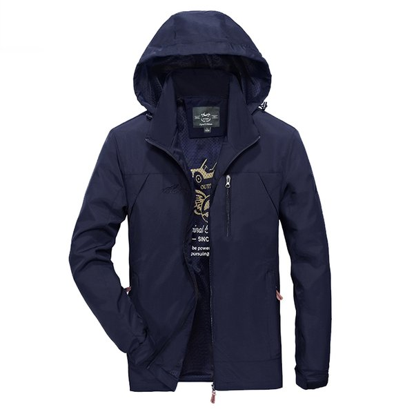 Spring Sunmer Coat Jacket Men Comfortable Waterproof Jackets Plus Size XXXXL Polyester Hooded Jackets Mens Windbreaker M-4XL