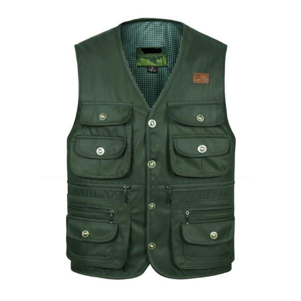 Лето молния жилет для мужчин весна осень мужской повседневная дышащий Multi карман жилет мужские мешковатые жилет с большим количеством карманов куртка