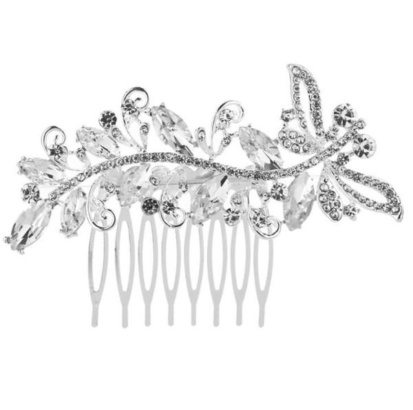 Стрекоза образный свадебный Кристалл гребни для волос игристое посеребренные животных заколки для волос для женщин свадебные аксессуары для волос