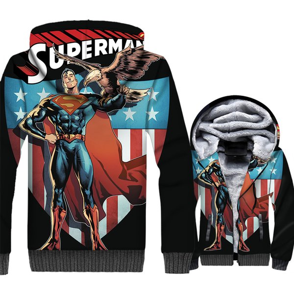 Jacket Hoodie Men Fitness Hooded Sweatshirt Winter Thick Fleece Warm Zipper Coat Cool 3D Print Streetwear