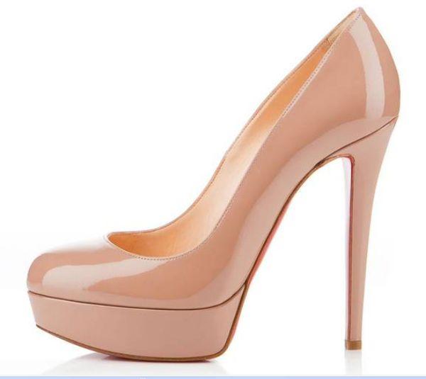 Designer Brand Black Matte Leather Round Toes Red Bottom High Heels,Fashion Women Nude Shiny Leather Waterproof Platform Dress Shoes 14cm