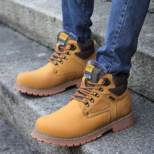 Brand New High Quality Brand Cowhide Martin Boots Men Waterproof Non-slip Outdoor Hot Leather Boots Winter Warm Snow Boots Free Shipping