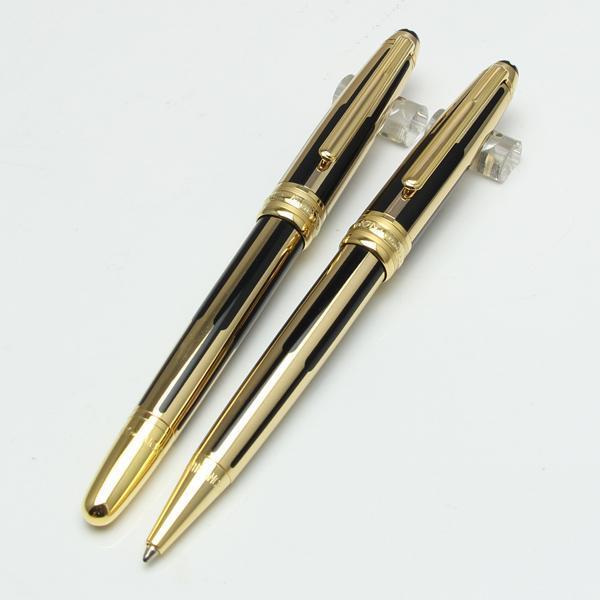 Hochwertige neue Monte-Schwarz- und -goldstreifenrollenkugelschreiber / Kugelschreiber Luxuxmon-Stift-Großhandelsgeschenk geben Verschiffen frei Heiß