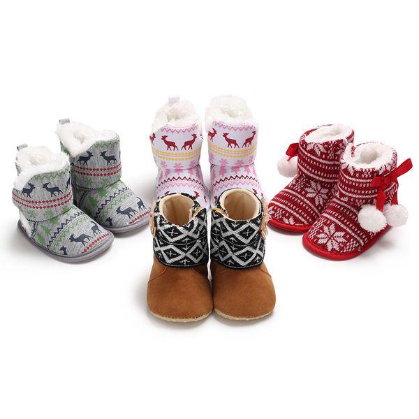 018dad4c3a3fb 2019 Newborn Boots Baby Girl Boy Warm Winter Shoes Kid Cute Deer Print  Prewalker Footwear Infant Toddler Soft Soled Anti Slip Booties From  Universecp, ...
