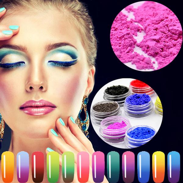 YZWLE 12 Boîte / Lot Changement de Couleur Thermique Pigment Température Couleur Changement Poudre Thermochromique Pigment Gradient Nail Glitter Poudre