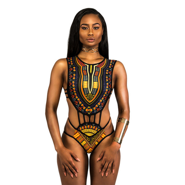 Sexy Women's Swimsuit Bandage Swimwear High Waist Digital Printing African Plus Size Bikini set Bandeau Underwear Swimsuits