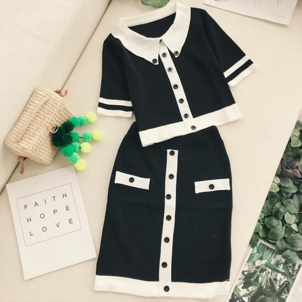 2 teile satz Frau anzüge schwarz und weiß kontrastfarbe tasten gestrickte Hemd kurzarm Pullover Tops dünne paket hüfte Rock