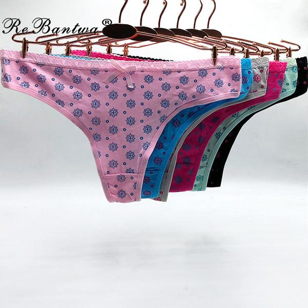 wholesale 10pcs New Girl's Thongs Women Sexy G-string Cute Florals Print Ladies Lingerie Women Underwear Cotton Panties wholesale