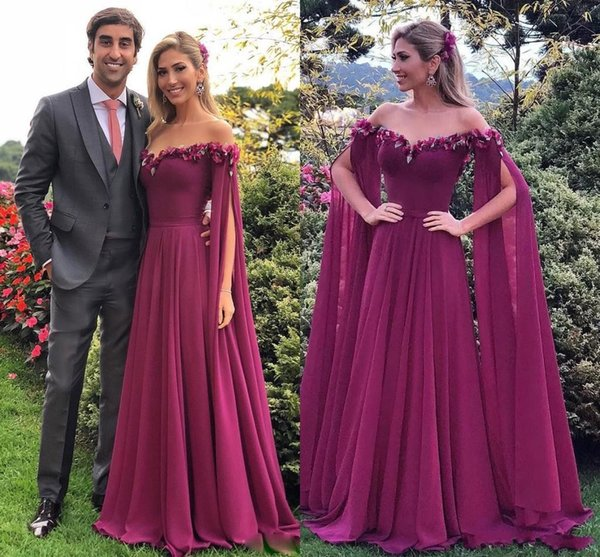 Purple Arabic Prom Dresses Long Sleeves Applique Lace 3D Flowers Off Shoulder Chiffon Modest With Cape Wrap Cheap Formal Party Evening Gowns