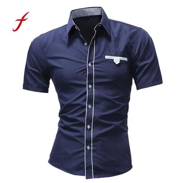 Feitong Erkekler Gömlek Erkekler Rahat Kısa Kollu Gömlek Yeni Yaz Moda Katı Renk Erkek Bluz 2018 Yeni Gelenler erkek Gömlek