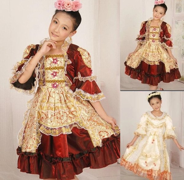 fantasias girls princesses childs kids traditional Russian national dress European Court dresses stage dance costume for child