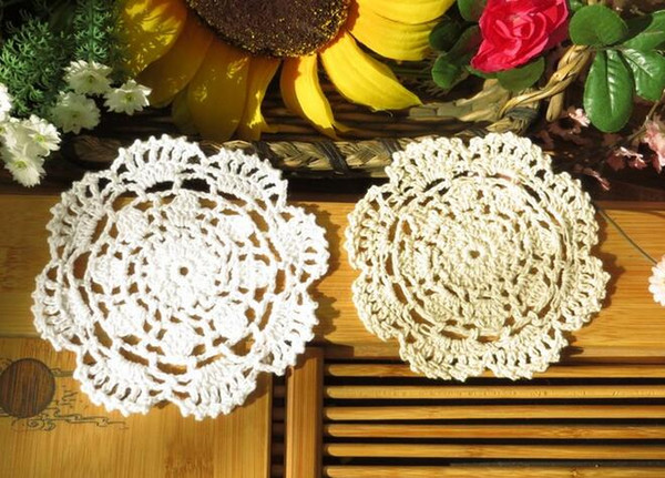 Lace cotton table place mat cloth pad DIY crochet cup Spoon trivet hot coaster placemat doily mug holder dining drink kitchen
