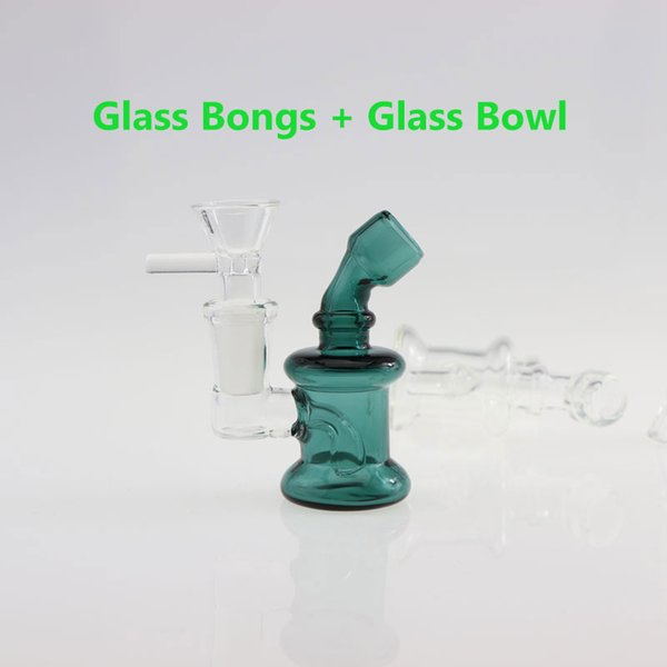 3.3 Inch Mini Glass Bongs Dab Rigs 14mm Female Joint with free glass bowl Cheap small Bubbler Glass Water Pipes Oil Rigs