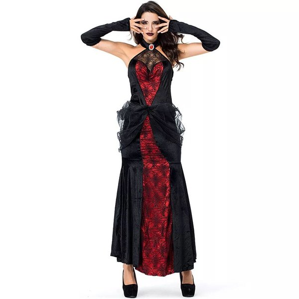 Women Halloween Gothic Dark Black Red Devil Dracula Vampire Costume Scary Sexy Evil Spider Web Cobweb Halter Dress For Ladies