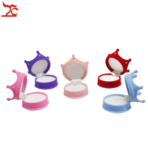 Wholesale 100pcs Small Cute Crown Princess Velvet Ring Packaging Box Holder Earring Stud Pendant Organizer Storage Gift Boxes Cases