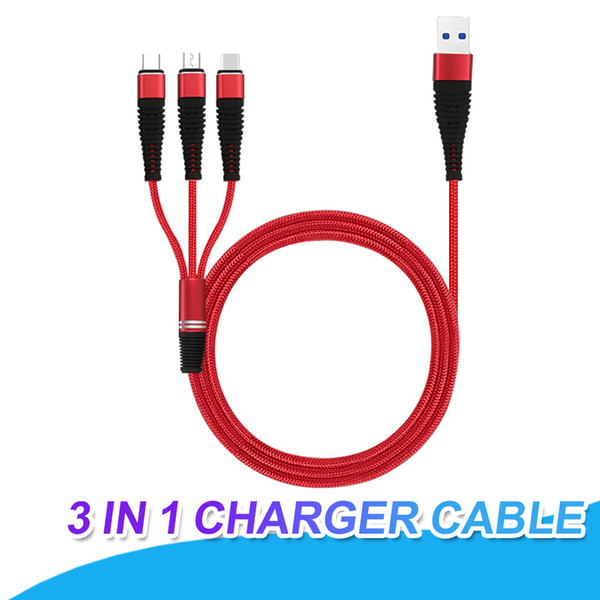 3 in 1 Charging Cable 1.2M Braided Type C Cable For Samsung S8 S9 Plus HTC LG Micro USB Cable With Metal Head Plug USB