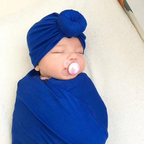 1PC Hot Fashion New Designed Cute Girl Boy Bohemian Style Donut Hat Newborn Elastic Cotton Beanie Cap Colorful Solid Turban Hats