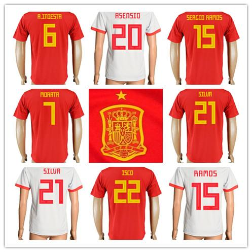 2d911422b0f 2018 world cup Spain Soccer Jerseys Home Away Football uniform #3 PIQUE #6  INIESTA