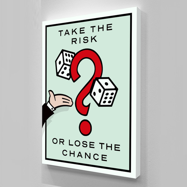 best selling Unframed Take the Risk,Alec Monopoly Oil Painting, on Canvas Graffiti art wall decor,Office decoration, commercial decoration