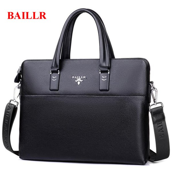 BAILLR A4 File Briefcase Genuine Leather Business Mens Office Bags Casual Shoulder Bag Famous Brand Luxury Messenger Bags M495
