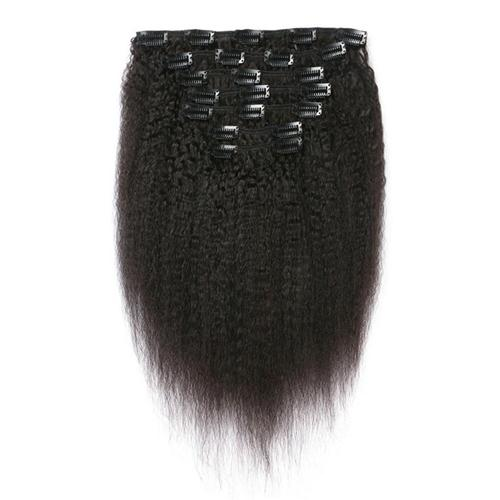 """18"""" 20"""" 24"""" Coarse Yaki Brazilian Kinky Straight Human Hair Clip In Hair Extension 7 Pieces And 120g/Set Natural Color Remy Hair"""