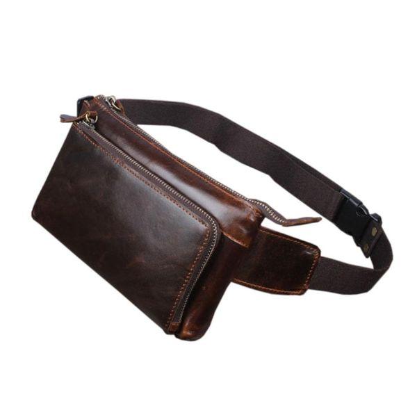 2018 hommes en cuir Voyage Vintage Cell / Mobile Téléphone Hanche Ceinture Pouch Fanny Pack Taille Purse Bag