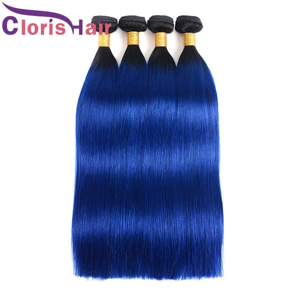 Silky Straight Ombre Hair 3 Bundles Dark Roots 1B Blue Malaysian Virgin Human Hair Extensions Colored Two Tone Blue Ombre Weaves Ali Grace