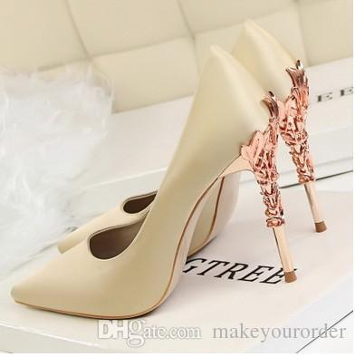 gold high heels dress shoes party fashion girls sexy pointed toe shoes silk platform pumps wedding shoes black white pink color 487