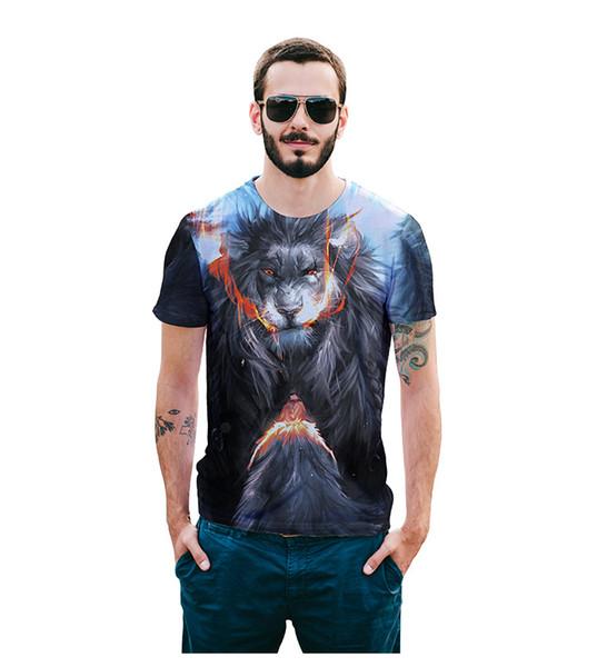 2018 лето с коротким рукавом мода гнев Лев шаблон 3D печать футболка улица хип-хоп поп одежда европейский размер мужская одежда
