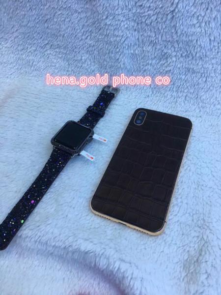 ücretsiz kargo iphone x timsah derisi deri gövde arka gül altın kaplama çerçeve kahverengi renk, altın co deisgn