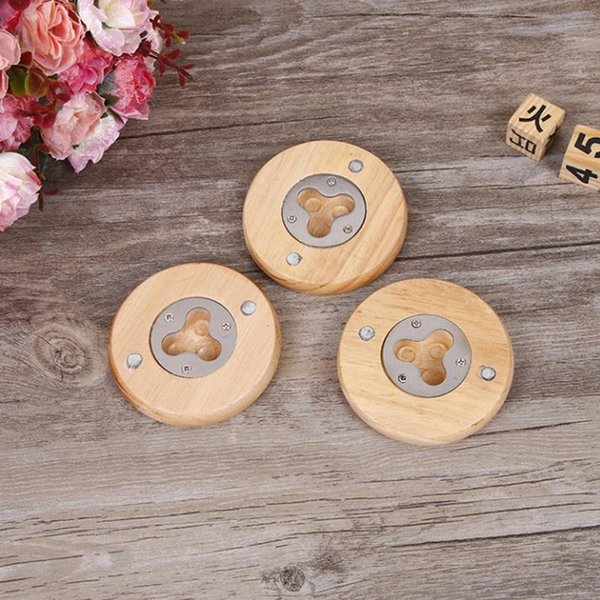 Latest Wooden Round Shape Bottle Opener Coaster Fridge Magnet Decoration Beer Bottle Opener fast shipping