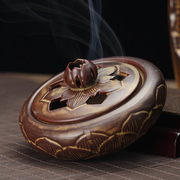 Chinês Antigo Queimador De Incenso Em Cerâmica Flor De Lótus Forma Censer Multi Propósito Bobina Difusor de Aroma Difusor Home Decor Presente 36rs jj