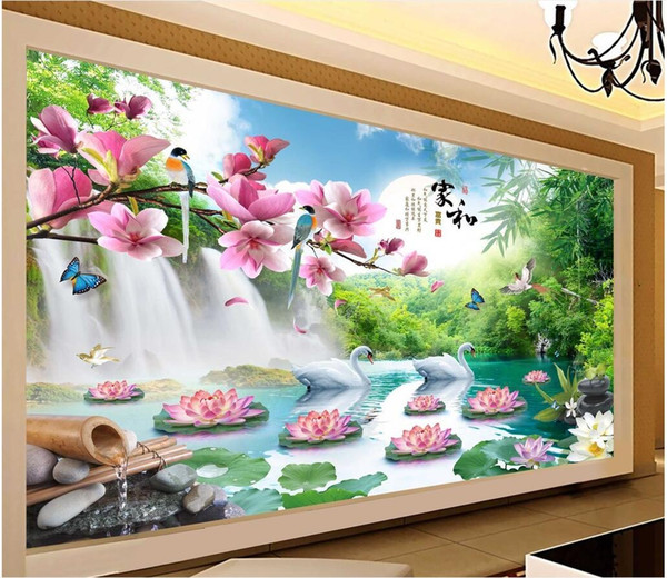 3d wallpaper custom photo mural Mountain swan lake scenery tv background wall living room painting 3d wall murals wallpaper for walls 3 d
