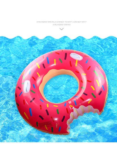 top popular Donut Swim Ring 100cm Adult Oversized Thickened Inflatable Life Buoy 2019