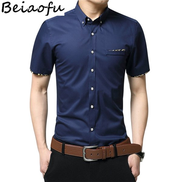 Beiaofu High Quality Men Formal Shirt Short Sleeve Print Design Business Dress Shirt Summer Slim Fit Uniform Tees