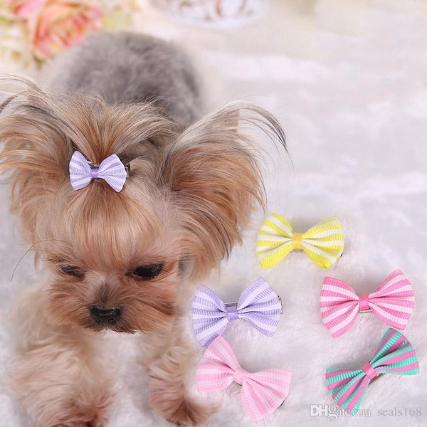 Dog Hair Bows Clip Pet Cat Puppy Grooming Striped Bowls For Hair Accessories Designer 5 Colors MiX HH7-1262