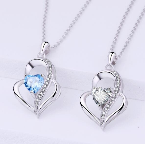 925 pure silver heart shaped necklace, female sea blue zirconium pendant, simple clavicle chain, Chinese style ornaments, new accessories.