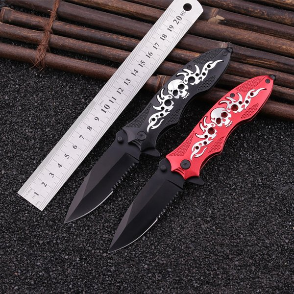 Skeleton Style Folding Knife Double Ball Bearing Flipper Pocket Knife 440C 56HRC Alloy Handle Blade Utility Outdoor Camping Knife