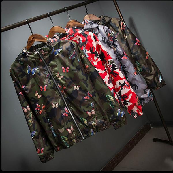 Gros-haute qualité homme femme été Camo coupe-vent veste mince femme camouflage papillon coupe-vent manteaux printemps à capuche Windbrea