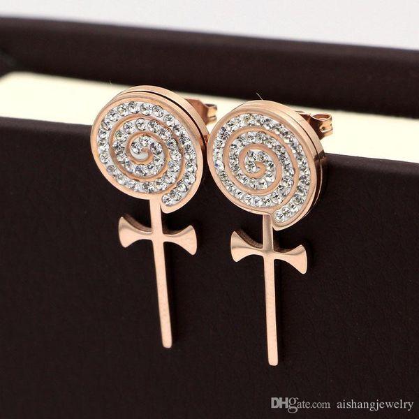E4 2018 moda con pietre Croce stile vortice torta rotonda rose bellissime orecchini per regalo donna