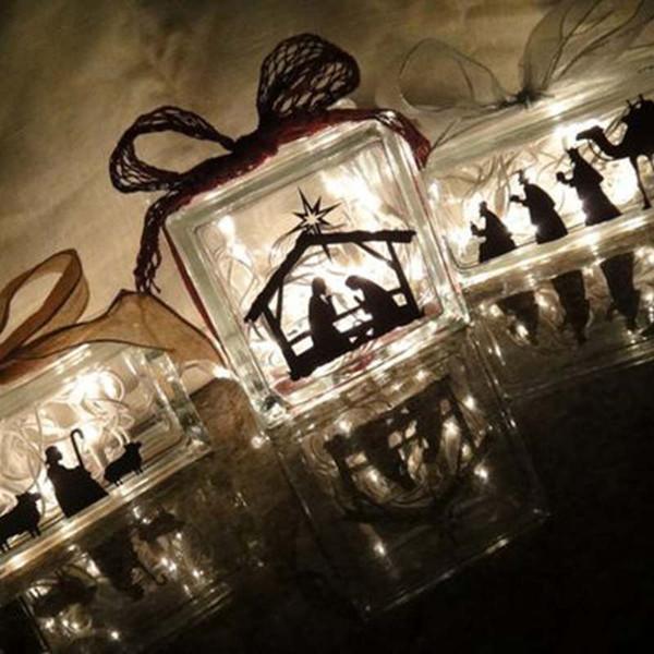 Nativity Scene Vinyl Sticker Decal For Glass Blocks Christmas Decoration , Waterproof removable 3pcs/set