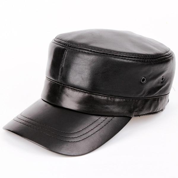 Wholesale- 2014 men Genuine leather Baseball Cap Biker Trucker outdoor Sports snapback Hats For Army hat wholesale